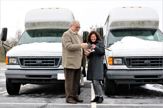 The Fairfield County Board of Developmental Disabilities recently donated two Ford E350 accessible passenger vans to Lancaster-Fairfield Public Transit.