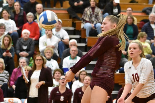 Paige Gallentine of Charyl Stockwell plays the ball during a regional volleyball championship match against Monroe St. Mary on Thursday, Nov. 14, 2019.