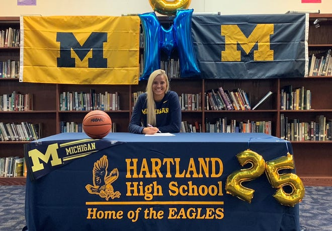 Hartland's Whitney Sollom signed with the University of Michigan to play basketball.