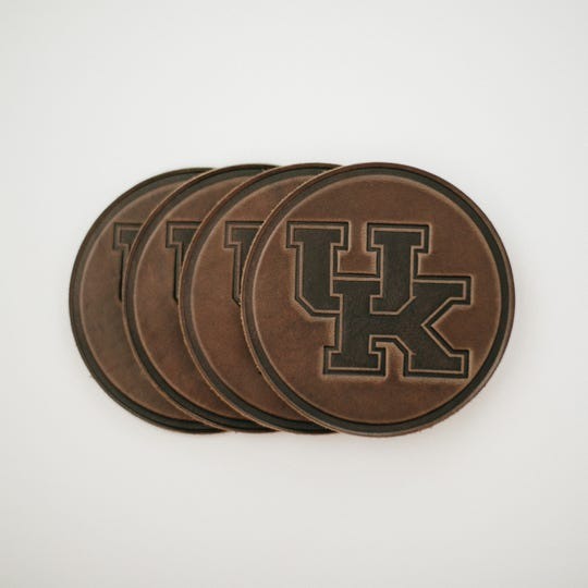 University of Kentucky leather coasters.