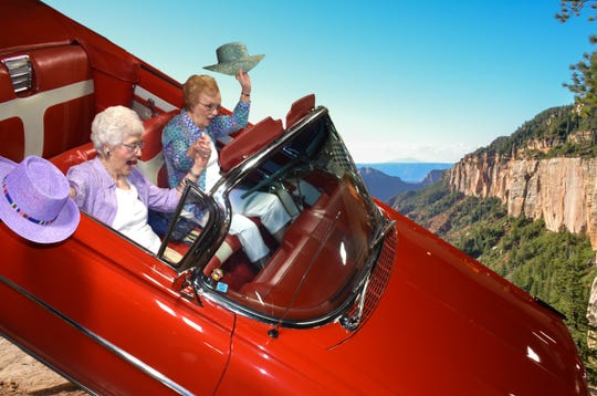 "Mary Lou Johnson and Eleanor Pinkham re-create the final scene from the 1991 film ""Thelma and Louise"" for the 2020 calendar created by residents of Burcham Hills."