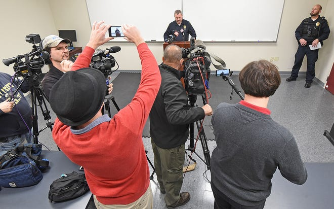 Shelby Police Chief Lance Combs, at a press conference Friday morning at the Shelby Justice Center, said Shelby officials can no longer use city vehicles to run over animals.