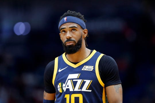 Utah Jazz guard Mike Conley (10) in a preseason game against the New Orleans Pelicans on Oct. 11, 2019.