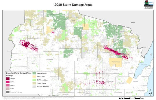 A map shows areas of Wisconsin damaged by strong storms on July 19 and 20, 2019. The storms resulted in an estimated 286,000 acres of damage across Wisconsin.