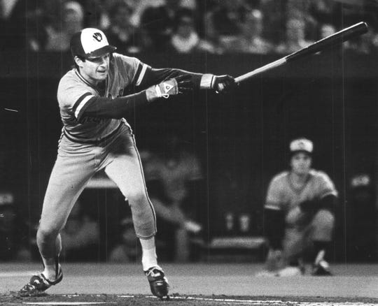 1982: Paul Molitor wearing the away uniform while batting in the World Series.