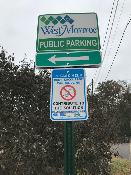 West Monroe has posted signs discouraging panhandling around the city.