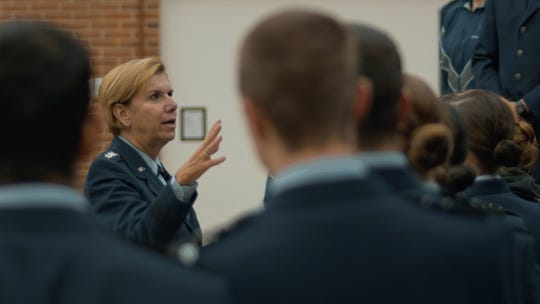 Retired Gen. Lori Robinson speaks with cadets at Air Force ROTC Detachment 475, University of New Hampshire, Nov. 12, 2019.