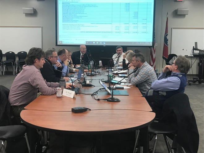 The Williamson County Board of Education discusses agenda items, including a bonus for substitute teachers, at its work session on Thursday.
