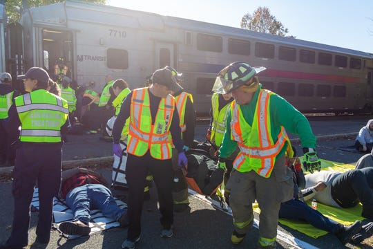 New Jersey Transit conducts an emergency drill at a Glen Rock train station on Nov. 2 where first responders rehearsed an active shooter scenario on a train.