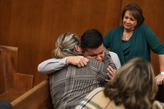 The brother of the victim Kenny Rodriquez hugs his mother Gladys Quintero following the verdict that found Raphael Lolos guilty on all charges including the murder her daughter Jenny Londono. The verdict was read in a Hackensack Courtroom on November 15, 2019.