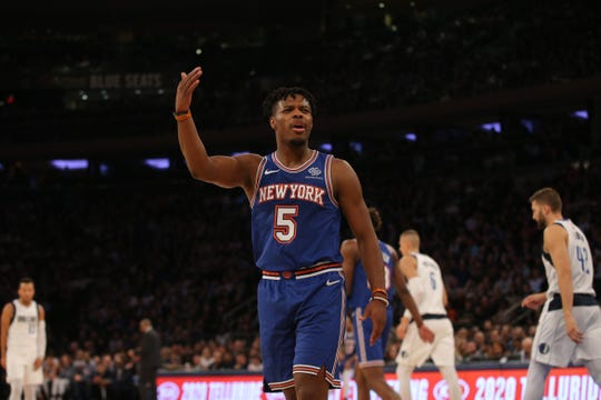 Nov 14, 2019; New York, NY, USA; New York Knicks point guard Dennis Smith Jr. (5) reacts during the second quarter against the Dallas Mavericks at Madison Square Garden. Mandatory Credit: Brad Penner-USA TODAY Sports