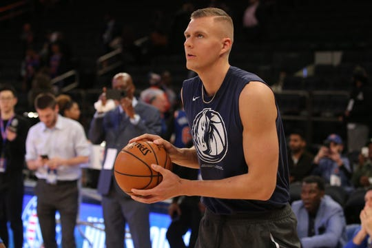 Dallas Mavericks power forward Kristaps Porzingis (6) warms up before a game against the New York Knicks at Madison Square Garden.