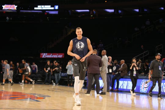 Dallas Mavericks power forward Kristaps Porzingis (6) takes the court for warm ups before a game against the New York Knicks at Madison Square Garden.