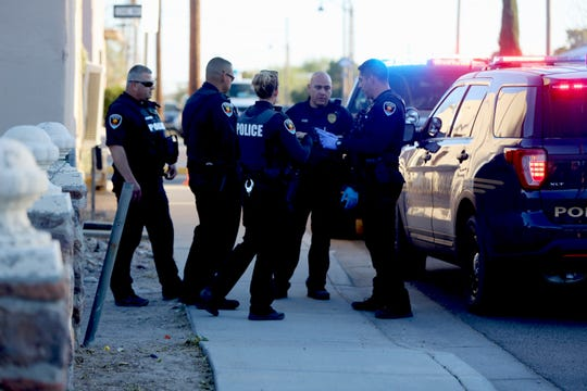 Police disarm a suicidal man with a knife by shooting him with beanbag rounds on Thursday Nov. 14, 2019, at a residence near the intersection of Mesquite Street and Organ Avenue.