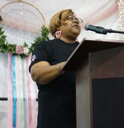 Voncile King sings at a breast cancer awareness event, Oct. 2, 2019 in Carlsbad.