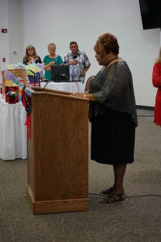 Voncile King sings the Star Spangled Banner, Aug. 20, 2019 at a Carlsbad Community Volunteer Network banquet at the Carlsbad Recreation Center.