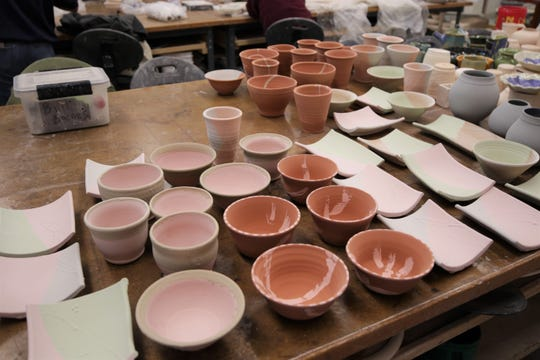Dozens of pieces await firing in a kiln on Nov. 14, 2019, in preparation for the San Juan College Charity Bowl Sale Nov. 21-22.