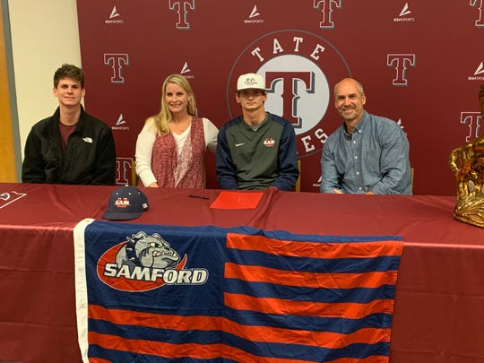 Cole Fryman signs with Samford on Thursday at Tate.