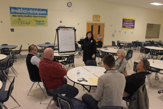Citizens share what qualities they think are most important in a school superintendent during a community forum Thursday at Blue Angels Elementary School.