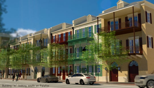 A rendering by SMP Architecture of the Admiral's Row condominium development on South Palafox Street.