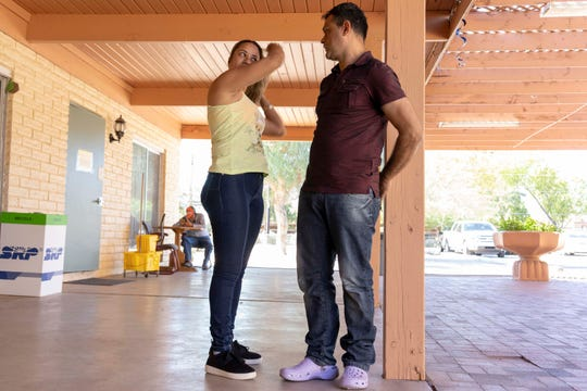 Asylum seekers from Brazil Adriano Moraes da Silva, 43, and his wife Claudineia Ferreira Rodrigues Moraes, 40, talk about their journey after they were released by ICE at Iglesia Cristiana El Buen Pastor Church in Mesa, Arizona.