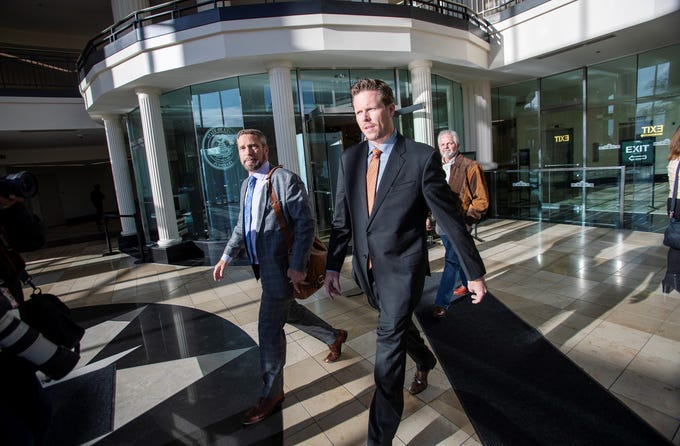 Maricopa County Attorney Paul Petersen leaves the Matheson courthouse in Salt Lake City with his attorney Scott Williams and another unidentified man on Nov. 15, 2019.