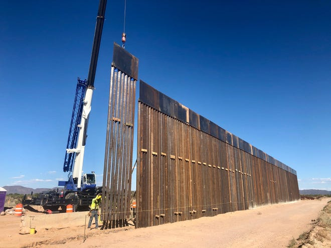 Border wall construction in Organ Pipe Cactus National Monument at the  Arizona-Mexico line.