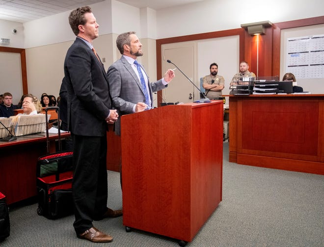 Maricopa County Assessor Paul Petersen appears in court at the Matheson courthouse in Salt Lake City with his attorney Scott Williams on Nov. 15, 2019.