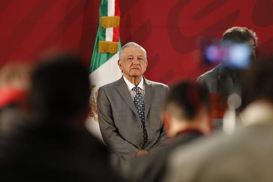 El presidente de México, Andrés Manuel López Obrador, participa en su conferencia de prensa matituna este viernes, en el Palacio Nacional, en Ciudad de México (México).