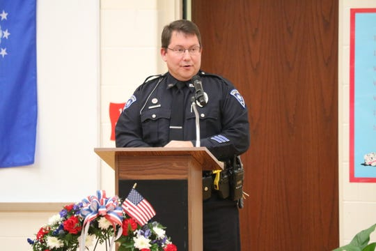 "Port Clinton Police Officer J.R. Cipiti, U.S. military veteran, served as guest speaker at the annual ""Bataan Day"" assembly on Friday."