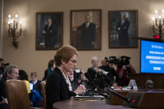Former U.S. Ambassador to Ukraine Marie Yovanovitch testifies before the House Intelligence Committee, Friday, Nov. 15, 2019, on Capitol Hill in Washington, in the second public impeachment hearing on President Donald Trump's efforts to tie U.S. aid for Ukraine to investigations of his political opponents. (AP Photo/J. Scott Applewhite)