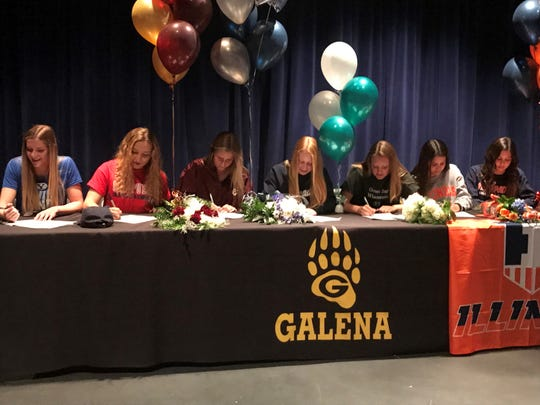 Galena had seven athletes sign for college athletics on Thursday