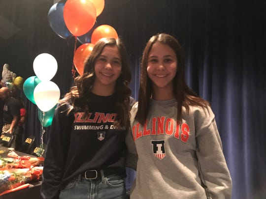 Brooke (left) and Taylor Michael will compete for Illinois next year on the diving team.