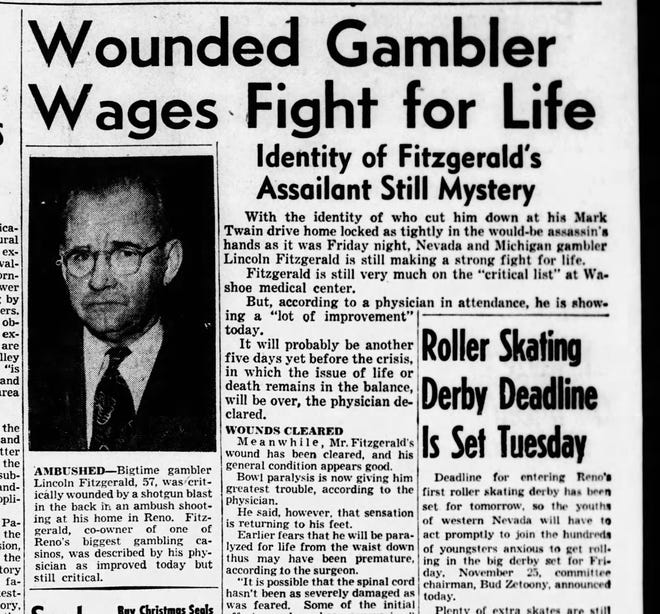 Coverage of the assassination attempt in the Monday, Nov. 21, 1949 edition of the Reno Evening Gazette.