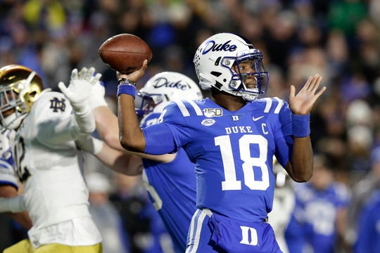 Duke quarterback Quentin Harris (18) passes against Notre Dame during the first half of an NCAA college football game in Durham, N.C., Saturday, Nov. 9, 2019.