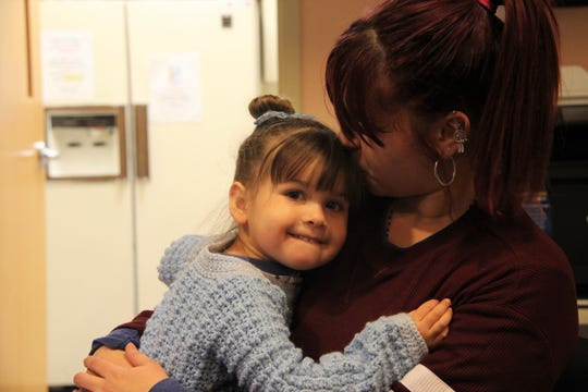 Casey Vargas, 21, and her daughter Lizmar Mejias Vargas, 3, at Ibero's Early Childhood Center on Clifford Ave. The nonprofit has played an important part of their relocation from Arecibo, Puerto Rico, to Rochester in the aftermath of Hurricane Maria.