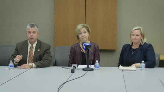Wicomico superintendent  Donna Hanlin addresses safety concerns at Parkside High School at a press conference on Friday Nov. 15.