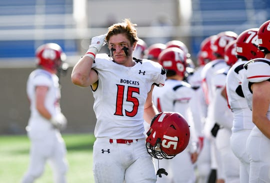 Rhett Zelinsky of Brookings runs his hands through his hair as he comes off the field during the Class 11AA state football finals on Friday, Nov. 15, at the Dana J. Dykehouse Stadium in Brookings.