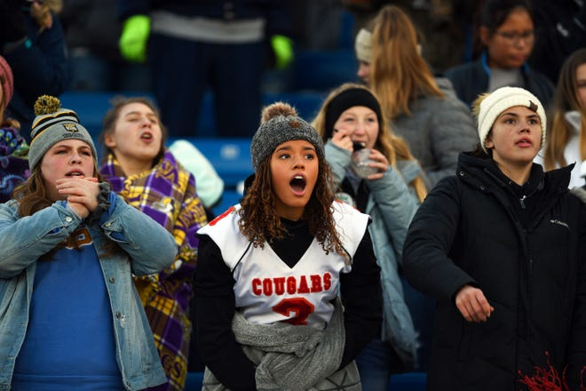 Viborg-Hurley fans watch a suspenseful play during the Class 9AA state football finals on Thursday, Nov. 14, at the Dana J. Dykehouse Stadium in Brookings.