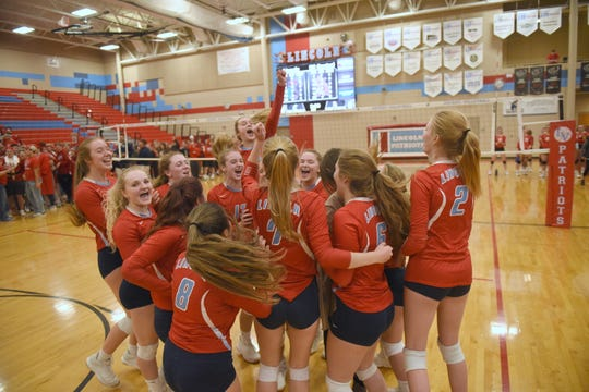 Sioux Falls Lincoln celebrates after defeating Rapid City Central in a SoDak16 match Thursday, Nov. 14, in Sioux Falls.