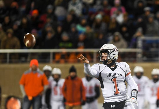 Lennox's Josh Arlt (1) passes the ball in the Class 11A state championship against Canton on Thursday, Nov. 14, 2019, at Dana J. Dykhouse Stadium in Brookings, S.D.