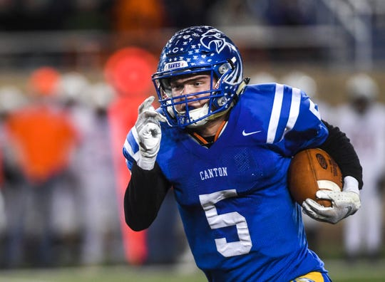 Canton's Isaac Dietzenbach (5) runs the ball down the field in the Class 11A state championship against Lennox on Thursday, Nov. 14, 2019, at Dana J. Dykhouse Stadium in Brookings, S.D.