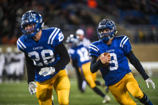 Canton's Kayden Verley (9) runs the ball down the field in the Class 11A state championship against Lennox on Thursday, Nov. 14, 2019, at Dana J. Dykhouse Stadium in Brookings, S.D.