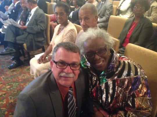 Former Tallahassee Democrat Bob Gabordi, left with Eva Mannings, who submitted news from Tallahassee's black community to the Democrat from 1953 to 1967. Mannings, a retired educator, died Thursday, Nov. 14, 2019, in Tallahassee.