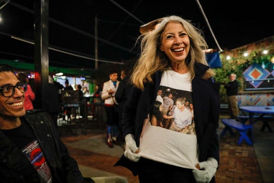 Olga Romo and other supporters thanked Beto O'Rourke, a former Democratic Presidential candidate and native El Pasoan, during at Hope and Anchor on Thursday night.