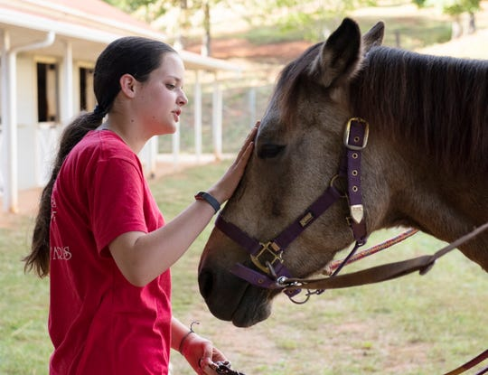 Meghan O'Hare scratches the nose of a horse named Hannah Eve at Eden Farms.