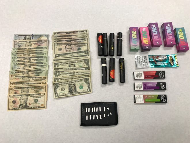 Narcotics and vape pens confiscated during an arrest by Oxnard police on Thursday.