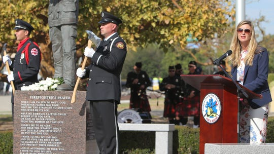 Ventura County Supervisor Kelly Long speaks during the Fallen Firefighters Memorial service on Friday at the Ventura County Government Center.