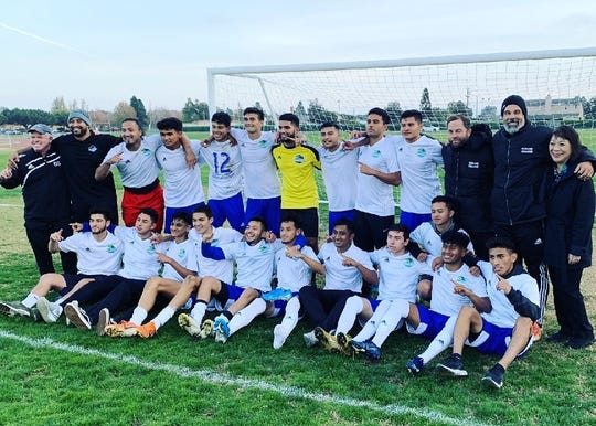 The Oxnard College men's soccer team clinched its eighth Western State Conference title under head coach Ross Geaney with a 4-1 win at Hancock on Tuesday.