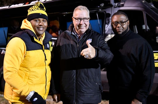 Eagles legend Ron Jaworski presented a $5,000 check to the Millville Thunder football team on Thursday, Nov. 14, 2019. The team is actively raising funds to help pay travel expenses for a Snoop Dogg-sponsored tournament in California.